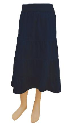 GIRL'S (CHILDREN'S) Lightweight Navy Cotton Twill Tiered Skirt by Baby'O Clothing Co. in Wish I Was Here