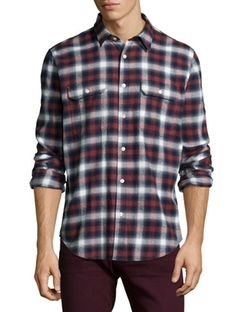 Plaid Long-Sleeve Shirt by 7 For All Mankind  in New Girl