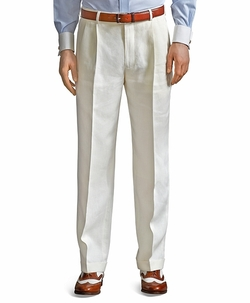 Pleat-Front Classic Gabardine Trousers by Brooks Brothers in The World is Not Enough