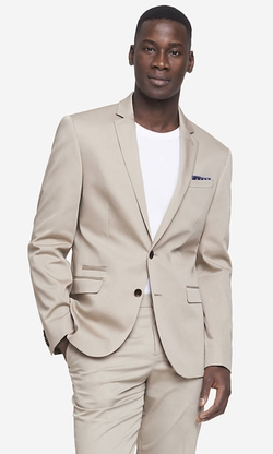 Cotton Sateen Suit Jacket by Express in Vacation