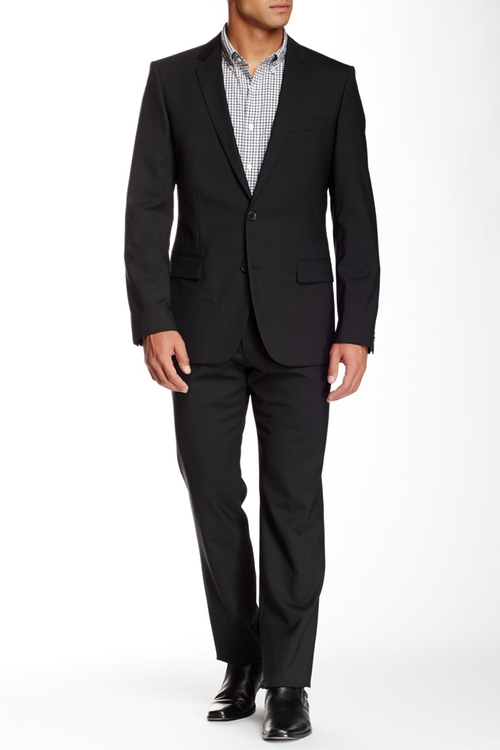 Sharkskin Two Button Notch Lapel Wool Suit by Hugo Boss in Point Break