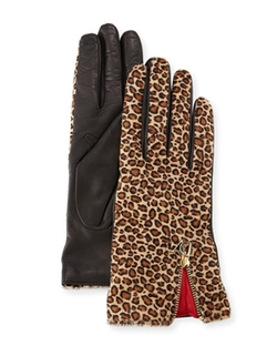Leopard-Print Calf Hair/Leather Gloves by Diane Von Furstenberg in Empire