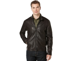 Faux-Leather Bomber Jacket by Perry Ellis in Arrow