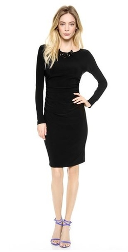 Long Sleeve Dress with Shirred Waist by Norma Kamali in Ballers