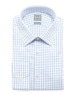 Check-Windowpane Woven Dress Shirt by Ike Behar in Vinyl