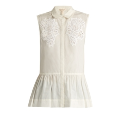 Medallion Lace Sleeveless Cotton Poplin Top by Rebecca Taylor in The House