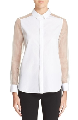 Sheer Sleeve Blouse by Burberry London in Suits