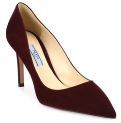 Suede Point-Toe Pumps by Prada in Chelsea