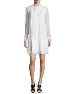 Waverly Silk Button-Front Shift Dress by Diane Von Furstenberg in By the Sea