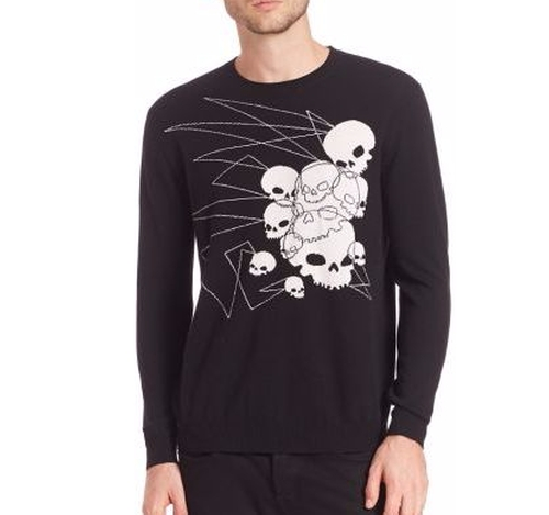 Intarsia Merino Wool Knitted Scull Jumper by Markus Lupfer in Dope