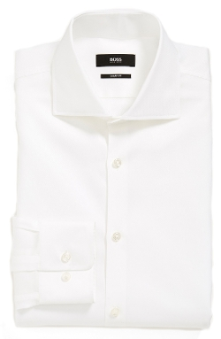 'Miles' Sharp Fit Check Dress Shirt by Boss Hugo Boss in Self/Less
