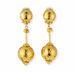 Hammered Ball-Drop Clip-On Earrings by Jose & Maria Barrera in Chelsea