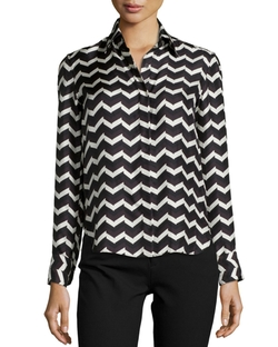 Faye Chevron-Print Silk Shirt by Rag & Bone	 in Supergirl