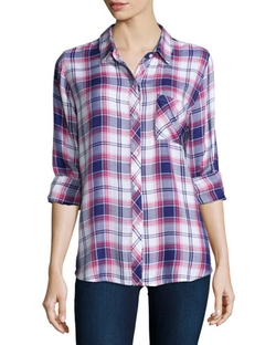 Hunter Plaid Long-Sleeve Shirt by Rails in Rosewood