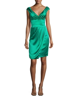 Ruched Satin Cocktail Dress by Kay Unger New York in Rosewood