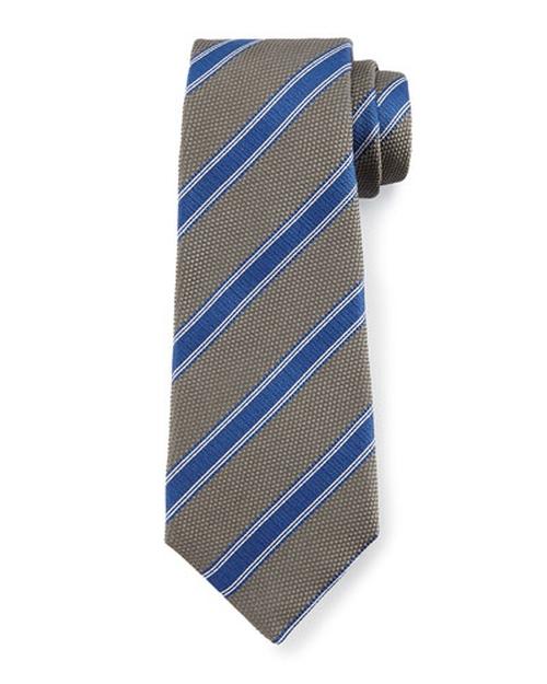 Textured Diagonal-Stripe Tie by Kiton in The Flash - Season 2 Episode 2