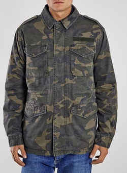 Camouflage Print M65 Jacket by Topman in Keanu