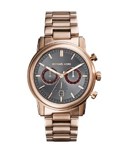 Mid-Size Rose Golden Stainless Steel Pennant Chronograph Watch by MIchael Kors in (500) Days of Summer