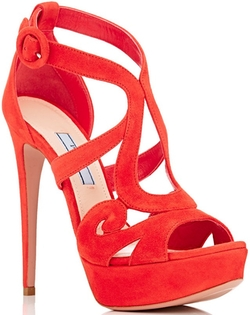 Baroque Suede Platform Sandals by Prada in Mistresses