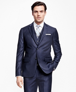 Milano Fit Three-Piece Stripe 1818 Suit by Brooks Brothers in Billions