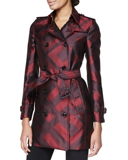 Check Silk Modern-Fit Trench Coat by Burberry London in Jessica Jones