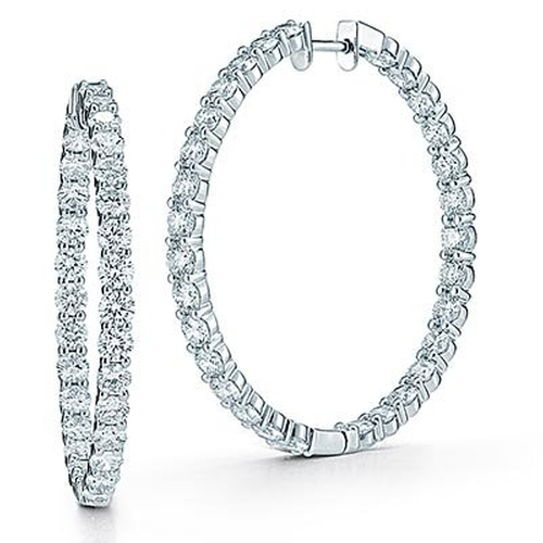 Large Round Diamond Hoop Earrings by Natural Diamonds Of NYC in Sex and the City