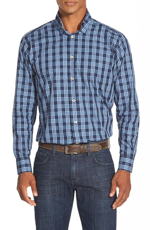 Anderson Classic Fit Plaid Sport Shirt by Robert Talbott in Modern Family - Season 7 Episode 1