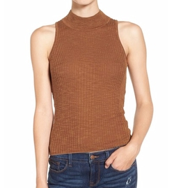 Mock Neck Knit Tank Top by Sun & Shadow in The Flash