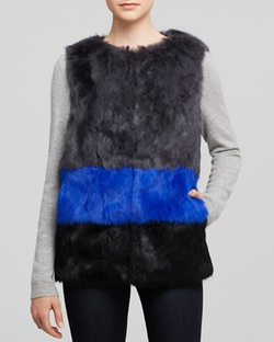 Long Hair Rabbit Fur Colorblocked Vest by Jocelyn in Pretty Little Liars