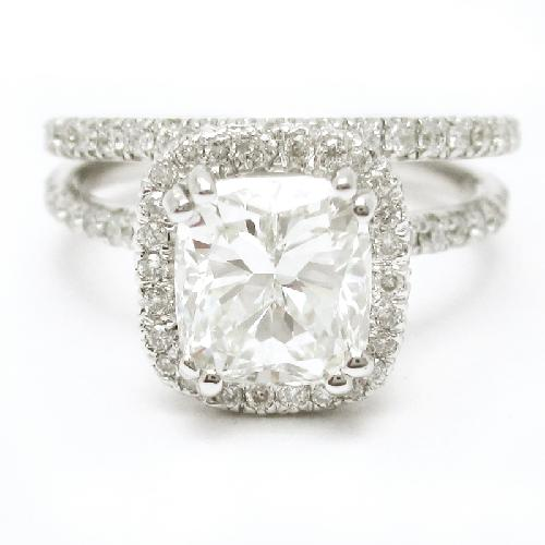 3.00CTW Cushion Cut Semi Eternity Diamond Engagement Ring & Band Wedding Set by Nina Elle Jewels in The Great Gatsby