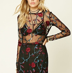 Floral Embroidered Mesh Top by Forever 21 in Riverdale
