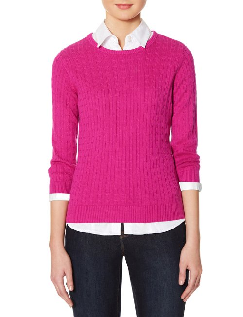 Zip Back Cable Knit Sweater by The Limited in Pitch Perfect 2