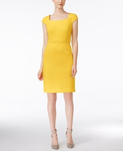 Cap-Sleeve Scuba Sheath Dress by Calvin Klein in La La Land