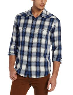 Men's Spearhead Plaid Western Shirt by Lucky Brand in Into the Storm