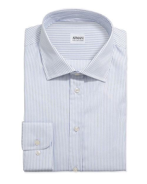 Textured Pinstripe Grenadine Dress Shirt by Armani Collezioni in Yves Saint Laurent