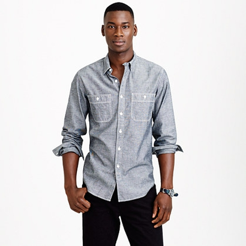 Grey Chambray Utility Shirt by J.Crew in The Boy Next Door