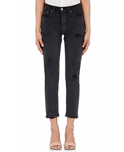 Black High Rise Crop Jeans by Re/Done in Keeping Up With The Kardashians