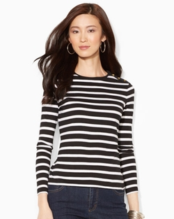 Buttoned-Shoulder Striped Top by Ralph Lauren in Pretty Little Liars