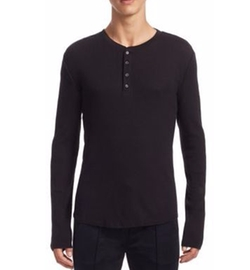Waffle-Knit Cotton Henley by Vince in Jason Bourne