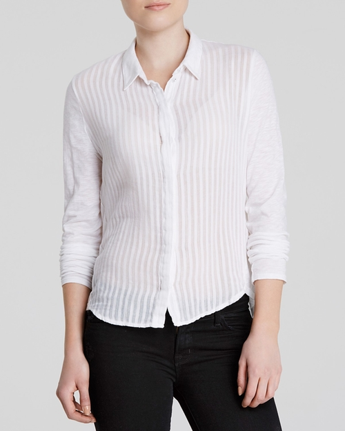 Shadow Stripe Button Down Shirt by Stateside in Whiskey Tango Foxtrot