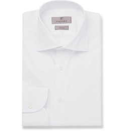 White Slim-Fit Cotton-Twill Shirt by Canali in The Man from U.N.C.L.E.