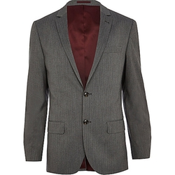 Grey Stripe Slim Suit Jacket by River Island in The Good Wife