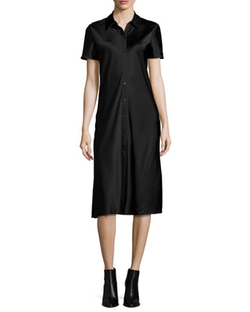 Short-Sleeve Collared Satin Shirtdress by DKNY in Elementary