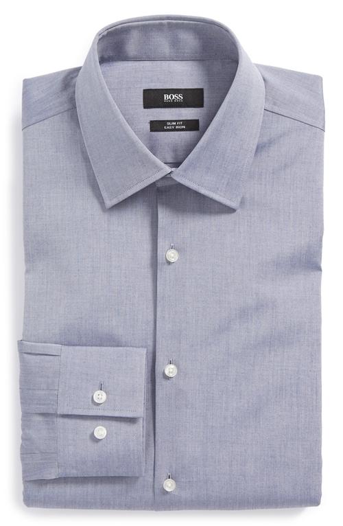 'Jacob' Slim Fit Easy Iron Dress Shirt by Boss Hugo Boss in Blackhat