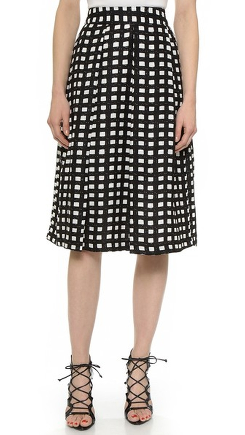 Checkered Midi Skirt by J.O.A. in Elementary - Season 4 Episode 5