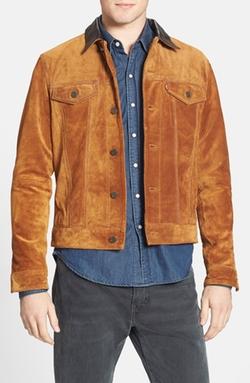 Slim Fit Suede Trucker Jacket by Levi's in Scream Queens