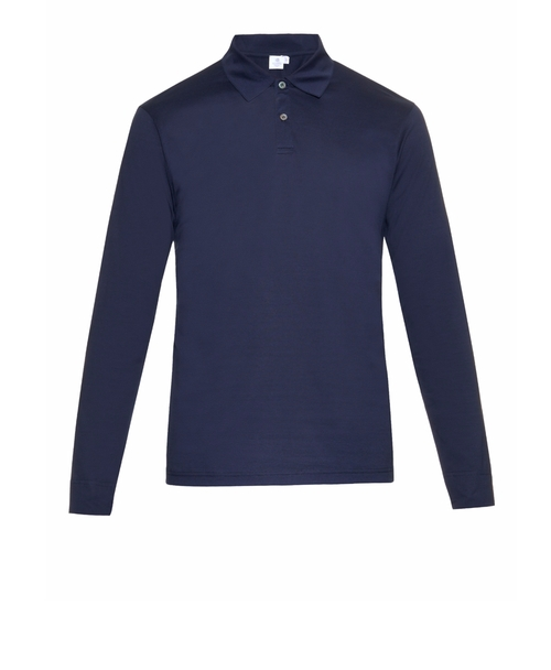 Long-Sleeved Cotton-Jersey Polo Shirt by Sunspel in Empire - Season 2 Episode 18