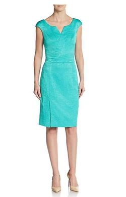 Cap Sleeve Textured Dress by Oscar De La Renta  in Rosewood