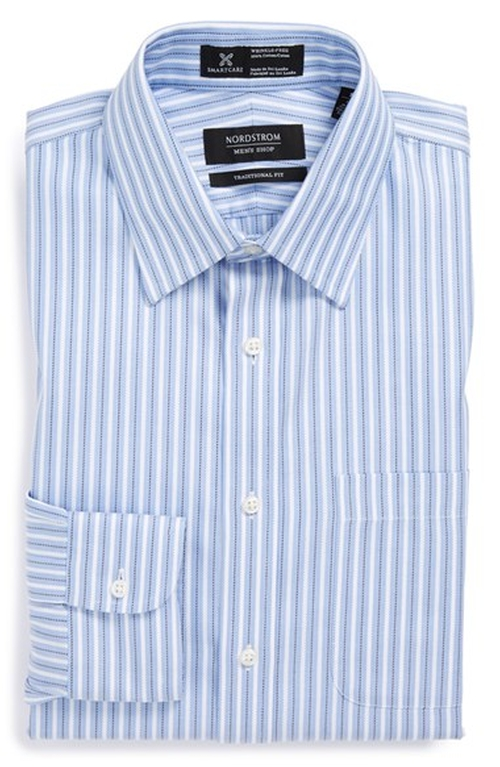 Smartcare Wrinkle Free Traditional Fit Stripe Dress Shirt by Nordstrom in The Big Bang Theory - Season 9 Episode 7