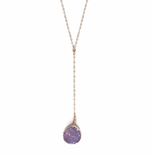 Organic Circular Druzy Pendant Drop Necklace by Robyn Rhodes in The Bachelorette - Season 12 Episode 7